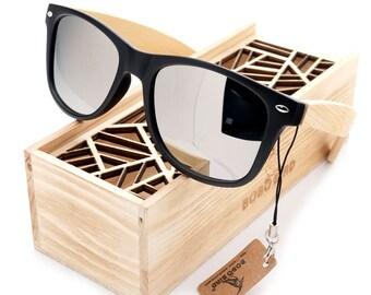Handmade Bamboo Sunglasses Black Trim