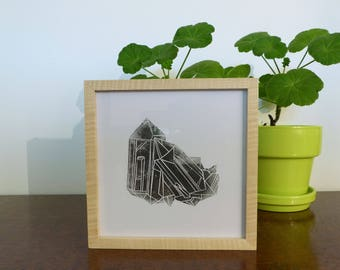 Linocut black and white framed Amethyst