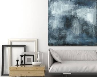 textured large painting, black, white and blue