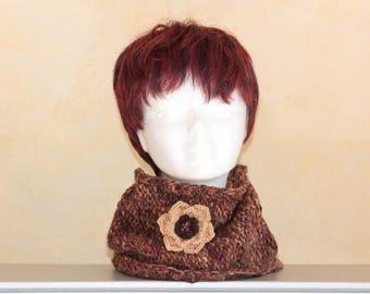 hand knitted beige Brown wool snood