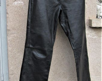 Vintage Leather Pants, black leather items, women's trousers, leather clothing, bootcut pants