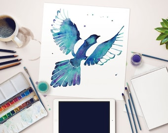 Magpie Art Print, Hand-embellished Fine Art Print, Watercolour Magpie Giclée Print, Flying Magpie Art Print