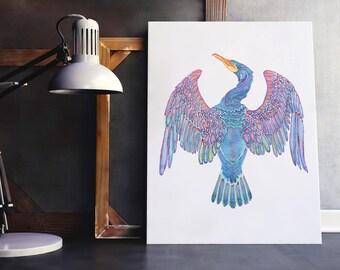 Cormorant Art Print, British Bird Wall Art, Colourful Bird Art, Beautiful Bird Art, Cormorant Wall Art, Whimsical Bird Art