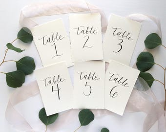 Table Numbers, Wedding Reception Decor, Calligraphy Table Numbers