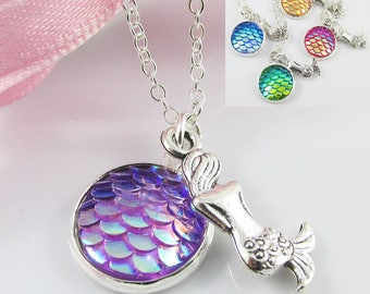 H2O Just Add Water Inspired Mermaid Charm Pendant Necklace 40cm Select Colour