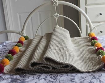 Handmade crochet Pom Pom bedrunner