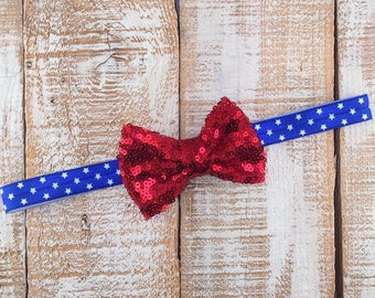 4th of July Headband, Patriotic Headband, Red Bow, Red, White & Blue Headband, Newborn Headband, Toddler Headband, Girls Headband