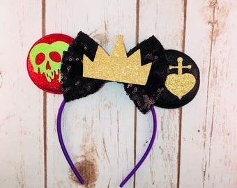 Evil Queen Inspired Minnie Ears , Minnie Ears, Evil Queen Inspired Headband, Girls Birthday Headband, Bachelorette Party,