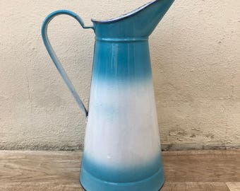 Vintage French Enamel pitcher jug water enameled blue white 0802187