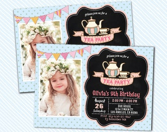 Digital Printable Tea Party Invitation. birthday invite. shower invite Girl Birthday.