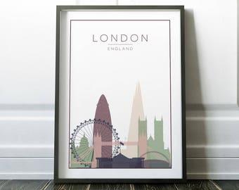 Wall Art, London Wall Art, London Print, London Poster, Minimalist City, Minimalist Wall Art, Prints, London, Modern Travel, Travel Wall Art