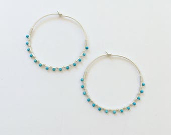Hammered Hoop Earrings, Hammered Hoops, Silver Bright Blue Turquoise Bead Hoops, Silver Hoop Earrings, Hammered Hoops, Silver Hoops