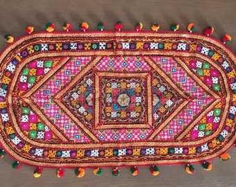 """Indian Multicolour Kutch Embroidery Tablecover,Handmade Colourful Oval Floral Embroidery,Wall Art Gift for her,Tapestry Home decor,18""""X34"""""""