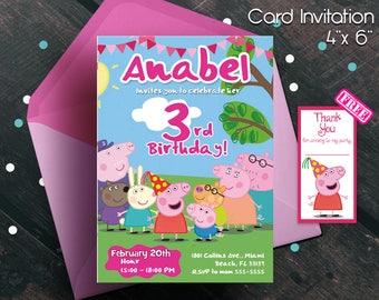 Peppa pig invitation, Peppa pig birthday, Peppa pig, Peppa pig party, free thank you card, card invitation, birthday, birthday party, free