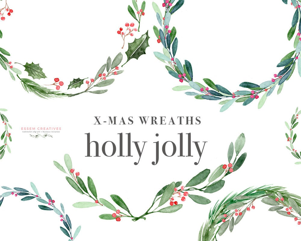 Christmas wreath clipart holly jolly clip art watercolor for Weihnachtsgirlanden bilder kostenlos