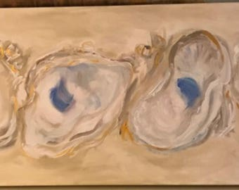 Original Oyster Painting in arcylic on 15x30 gallery wrapped canvas New Orleans Louisiana Artist natural wall art decor oyster shell artwork