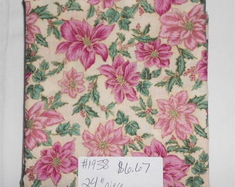 "Fabric - 24"" piece-Christmas/Xmas/Winter-Pink/Rose/Mauve Poinsettias/Cream Background/Gold Metallic/holly leaves & berries (#1938) Hoffman"