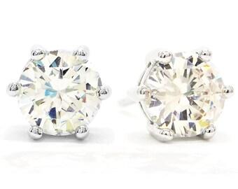 Genuine silver clear gem stud, Sterling silver earrings, White round gem, Stud silver earrings, Round clear gemstone stud, Black gift box