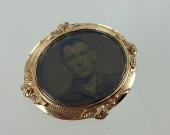 Victorian Goldfilled Mourning Brooch with original Late 1800s Tintype Portrait