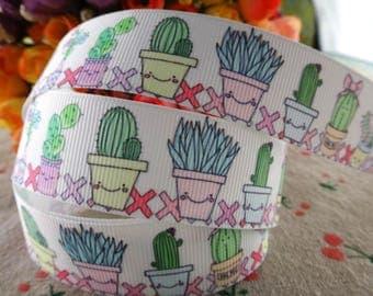"""Cactus Grosgrain 1"""" Printed Ribbon"""
