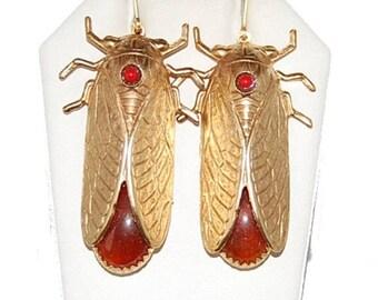 "Hot Summer Sale Cicada Beetle Cornelian Earrings 24kt Gold Plated 2 1/2""  Handmade"