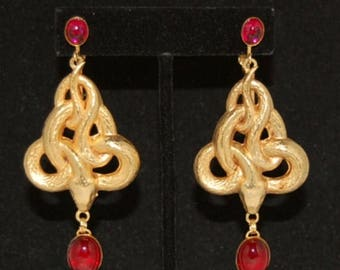 Hot Summer Sale Snake Earrings with Ruby Red Stones - 24kt Gold Plated  3""