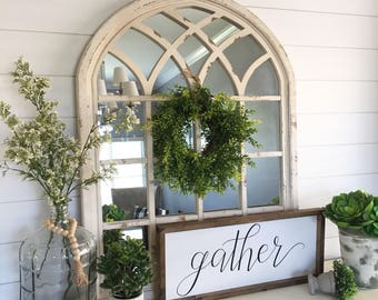 Gather handpainted wood sign