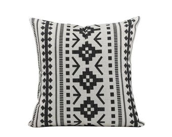 Aztec decorative pillow cover Ethnic throw pillow covers Navajo pillow case Black and white cushion covers Home decor gift 18x18