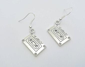 Silver Cassette Tape Earrings - 925 Silver Plated Hooks, Music Earrings, 60s, 70s, 80s, 90s, Vintage Retro, Cassette Player, Silver Cassette