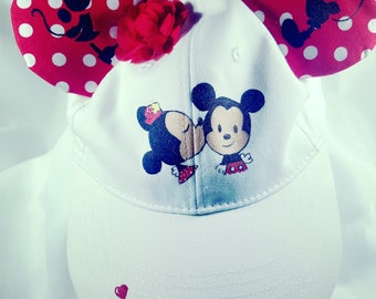 Mickey and Minnie Mouse hat with Mouse ears. Disney hat cosplay hand painted hat painted accessory