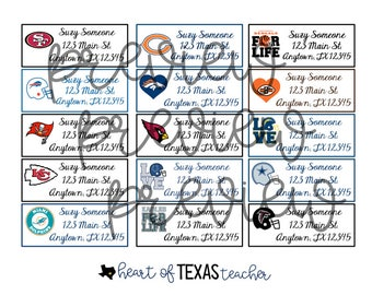 NFL Address Labels All Teams