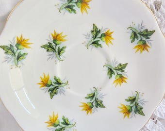 Royal Standard Orphan Yellow Floral Pattern Fine Bone China Saucer Replacement Saucer Only No Teacup