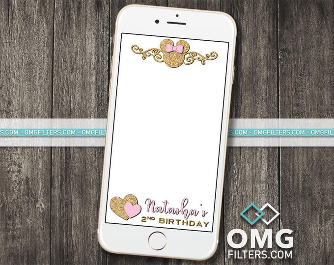 Pink & Gold Mouse Party 2 - Custom Snapchat Filter - Any Age! Any Wording!
