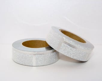 Masking Tape Glitter Washi Tape silver with silver glitter stripes