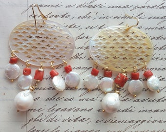 Coral earrings with pearls and mother of Pearl
