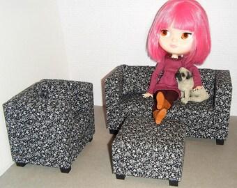 1/6 Scale Furniture Sofa Chair Ottoman - Barbie Momoko, Blythe, Pullip, Fashion Dolls - 1:6 Playscale Living Room Diorama - Black Flowers