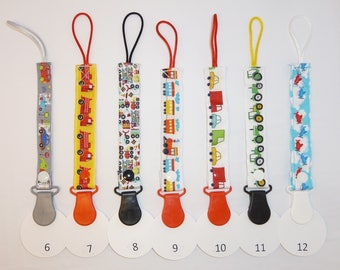 Cars, Trucks, Planes, Trackters Pacifier Clips // Binky Clips