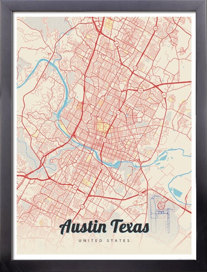 Framed Map Print of Austin Texas - Lobster Retro - Austin Map Art ...