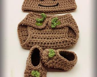 Baby Groot Hat, Diaper Cover, and Booties/Newborn
