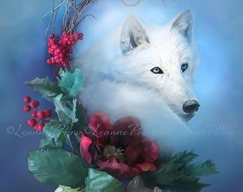 Wild Winter Solstice by Leanne Peters - Winter Art - Seasonal Art - Wolf Art - Fantasy Art