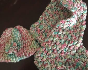 Colorful Infinity  Scarf and hat