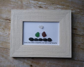 Sea glass love bird art picture / Every love story is beautiful, but ours is my favourite / Wedding art / Couple gift idea / Anniversary