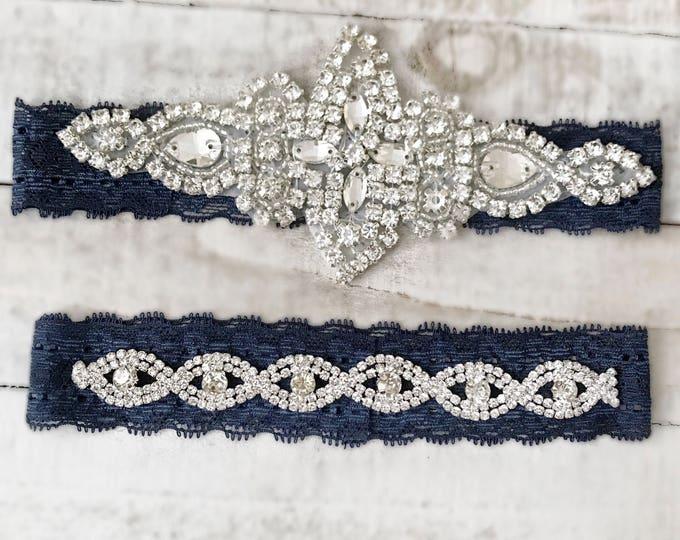 Navy Bridal Garter, navy garter, NO SLIP Lace Wedding Garter Set, bridal garter set, vintage rhinestones, pearl and rhinestone gar