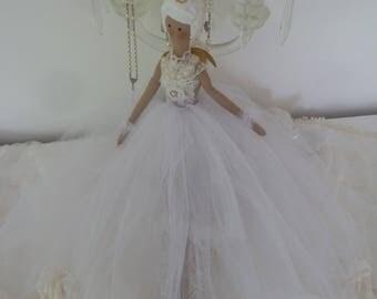 Ballerina * White Swan * Tilda artist doll Angel Tulle doll dancer doll Tutu vintage white lace beaded wedding
