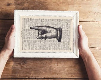 Pressure TO THE LEFT - antique book page - landscape