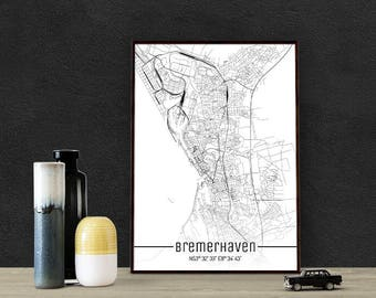 Bremerhaven-Just a map-din A4/A3-Print