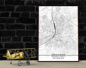 Göttingen-Just a map-din A4/A3-Print