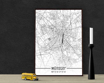 Münster-Just a map-din A4/A3-Print