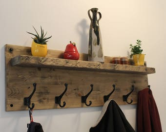 """Rustic 42"""" wide shelf with 6 black cast metal hooks, coat rack, robe holder, purse, or hats, in a rustic distressed barnboard finish"""