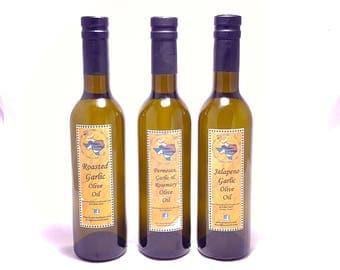 Olive Oil Set- Garlic Lover's Trio, Organic Garlic Olive Oil, Parmesan, Rosemary, Jalapeno